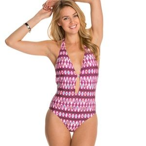 Kenneth Cole Berry Ikat Plunge 1pc Swimsuit Small